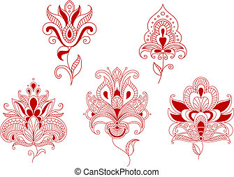 Abstract curly flowers set for ornate and embellishments design