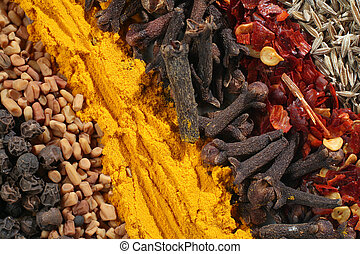 Macro of assorted spices used in curries. From bottom left: peppercorns, fenugreek seeds, ground turmeric, cloves, crushed chillies and cumin seeds.