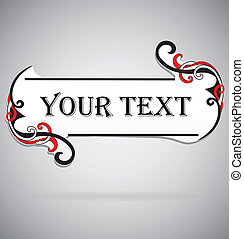 Abstract curve header or banner with sample text. Vector ornamental elements