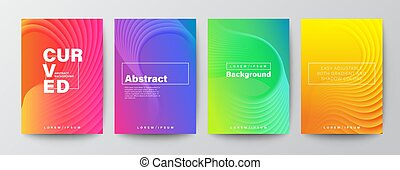 Abstract curved shape on bright vivid gradient colors background for Brochure, Flyer, Poster, leaflet, Annual report, Book cover, Graphic Design Layout template, A4 size
