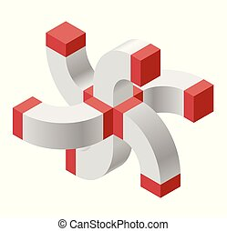 Abstract curved vector cross shape. Isometric brand of...