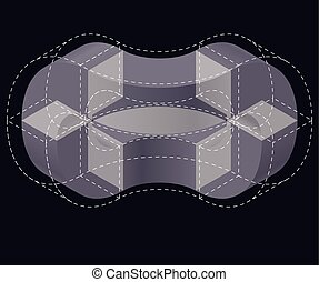 Abstract curved vector shape on black. Isometric brand of...