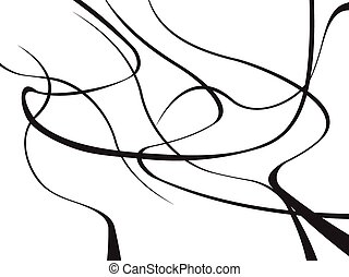 abstract curved waves background black and white