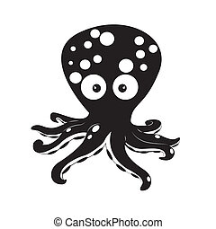 octopus - abstract cute octopus silhouette on white...