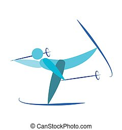Abstract cute skier