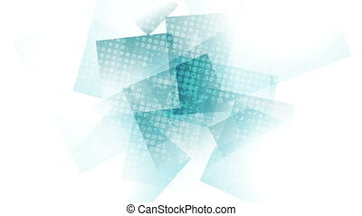 Abstract cyan tech grunge geometric video animation -...