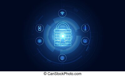 Abstract Cyber security with padlock blue circle icon technology Future cyber background.