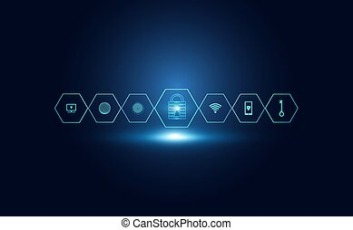 Abstract Cyber security with padlock blue icon and circle technology Future cyber background.