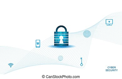 Abstract Cyber security with padlock blue on white and icon technology Future cyber background.