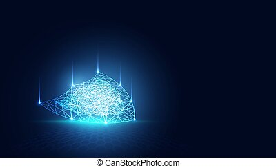 Abstract Cyber security with shield blue technology Future cyber background.