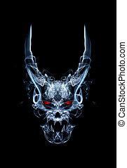 devil - abstract daemon or devil skull , made from smoke