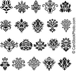 damask emblem set - Abstract damask emblem set for design...