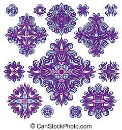 Abstract damask emblem set for design use. Vector illustration.