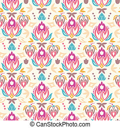 Abstract damask tulips seamless pattern background