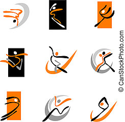 Abstract dancers 1 - Collection of abstract dancing icons...