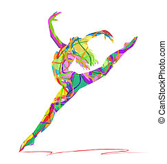 abstract dancers on a white background