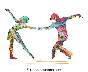 abstract dancers - pair of dancers made up of abstract...
