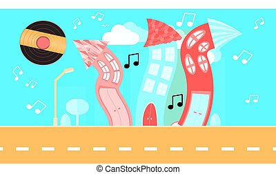 Abstract dancing city in a flat style with a vinyl plate instead of the sun with curved houses with notes with trees and bushes, clouds on a blue background. Vector illustration