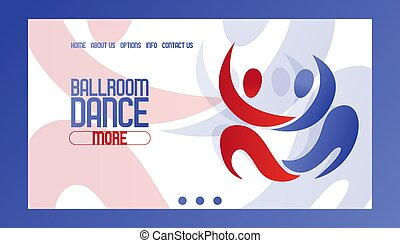 Abstract dancing couple banner vector illustration. Ballrom dance website design. Join club, learning more information about course. Contact us, home, about us, options, info buttons.