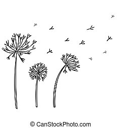 Abstract Dandelion Background with black flowers on white background.