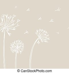 Abstract Dandelion Background with white flowers on beige ...