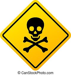 Abstract danger sign with skull illustration