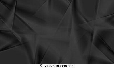 Abstract dark animated background. Grey wavy stripes on black.