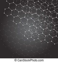 Abstract dark background with hexagon grid
