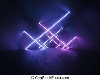 Abstract dark background with neon tubes in the tunnel.