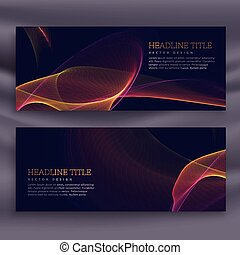 abstract dark banners with colorful shiny wave