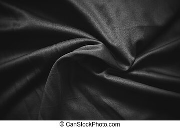 Abstract dark black crumpled fabric texture background - Smooth elegant black silk , satin luxury cloth wave