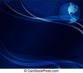 abstract dark blue  background  with globe - eps 10