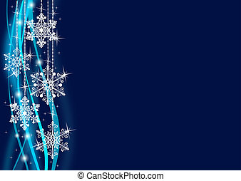 Abstract dark blue background with snowflakes and blured...