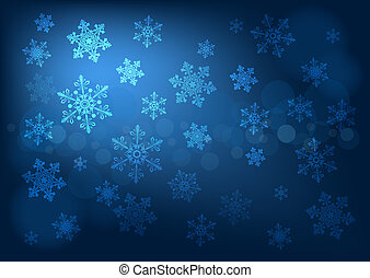 Abstract dark blue background with snowflakes - Abstract...