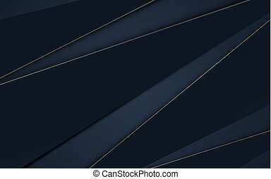 Abstract dark blue geometric and gold lines shape. Luxury background