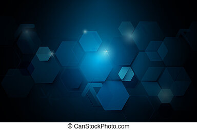 Abstract dark blue geometric hexagon Futuristic concept background