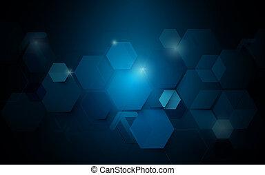 Abstract dark blue geometric hexagon Futuristic concept background
