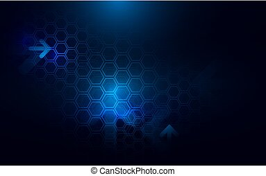 Abstract dark blue hexagons and arrows background. Futuristic and technology concept