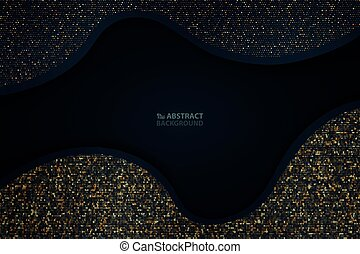 Abstract dark blue paper cut with gold glitter pattern background. You can use for abstraction present, artwork, ad, poster, cover design.