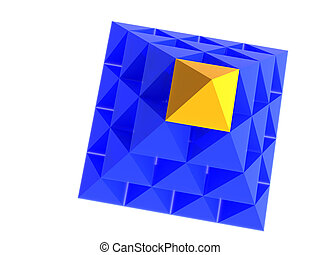 Abstract dark-blue pyramid with yellow top - Abstract...
