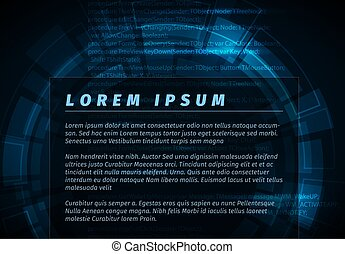 Abstract dark blue technical background flyer template