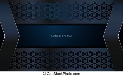 Abstract dark blue texture background with curly frames and arrows with a shiny border