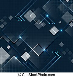 Abstract dark blue square technology futuristic background with glitter and grid. Vector design.