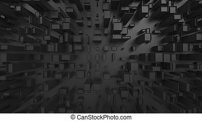 Abstract dark cubic city environment - top down view