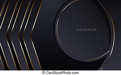 Abstract dark elegant textural background with a round frame and arrows with a gold border