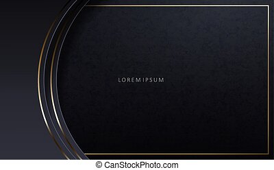 Abstract dark elegant texture design with gray frame and golden arcs