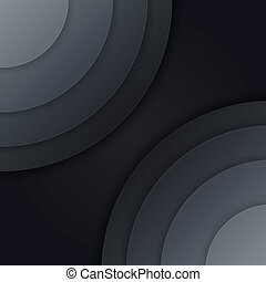 Abstract dark grey paper circles vector background - ...