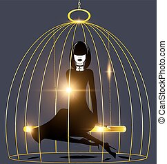 abstract dark lady and golden cage