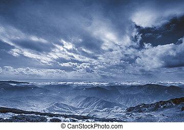 Abstract dark mountain landscape.