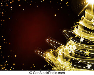dark red background with gold christmas tree